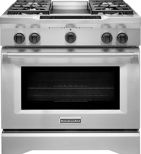 KitchenAid - 5.1 Cu. Ft. Self-Cleaning Freestanding Dual Fuel Convection Range - Stainless steel