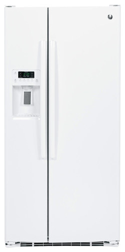 GE - 22.5 Cu. Ft. Frost-Free Side-by-Side Refrigerator with Thru-the-Door Ice and Water - White