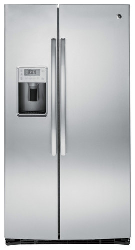 GE - Profile Series 25.4 Cu. Ft. Side-By-Side Refrigerator with Thru-the-Door Ice and Water - Stainless steel