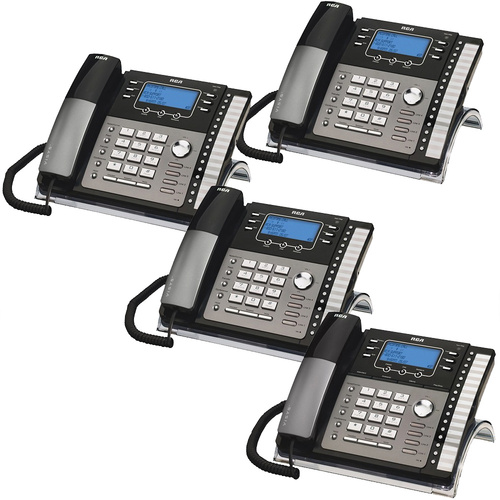 RCA - 4-Line Expandable Small Business Phone System with 4 Corded Desk Phones Featuring a Digital Receptionist with Voice Mail