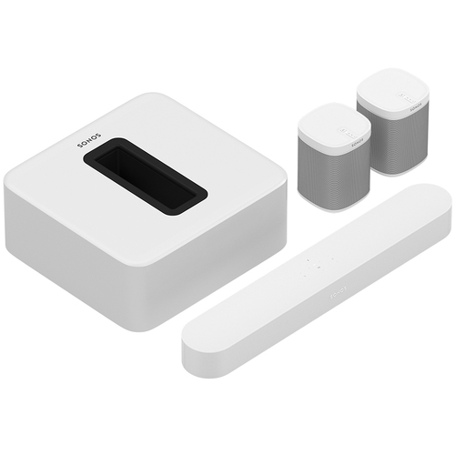 Sonos - 5.1 Surround Set - Home Theater System with Beam, Sub and 2 Play:1 Speakers - White