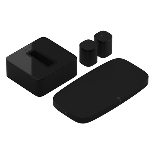 Sonos - 5.1 Surround Set - Home Theater System with Playbase for TVs on Stands, Sub and 2 Sonos One Smart Speakers - Black