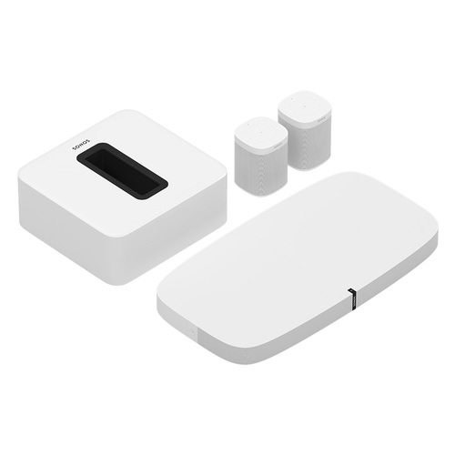 Sonos - 5.1 Surround Set - Home Theater System with Playbase for TVs on Stands, Sub and 2 Sonos One Smart Speakers - White
