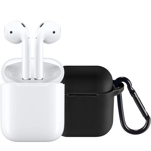 Apple - AirPods with Charging Case (Latest Model) & Insignia™ Case for Apple AirPods (Black) Package