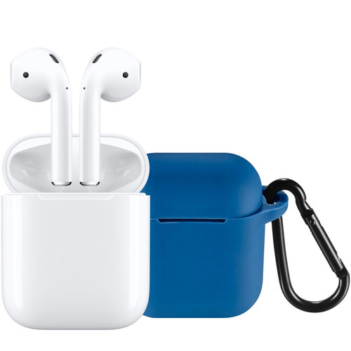 Apple - AirPods with Charging Case (Latest Model) & Insignia™ Case for Apple AirPods (Blue) Package AirPods with Charging Case (Latest Model) & Insignia™ Case for Apple AirPods (Blue) Package