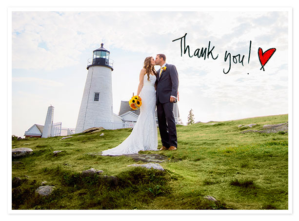 Bride and groom in front of lighthouse, thank you card