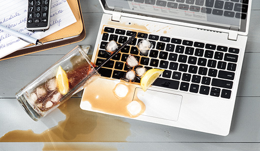 coffee spilled on computer