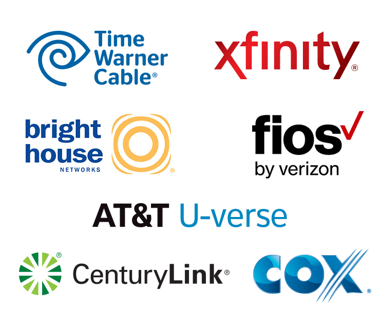 Xfinity, Time Warner Cable, CenturyLink, Cox, Verizon Fios, A T and T, Brighthouse