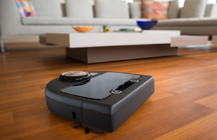 Robotic vacuum on floor