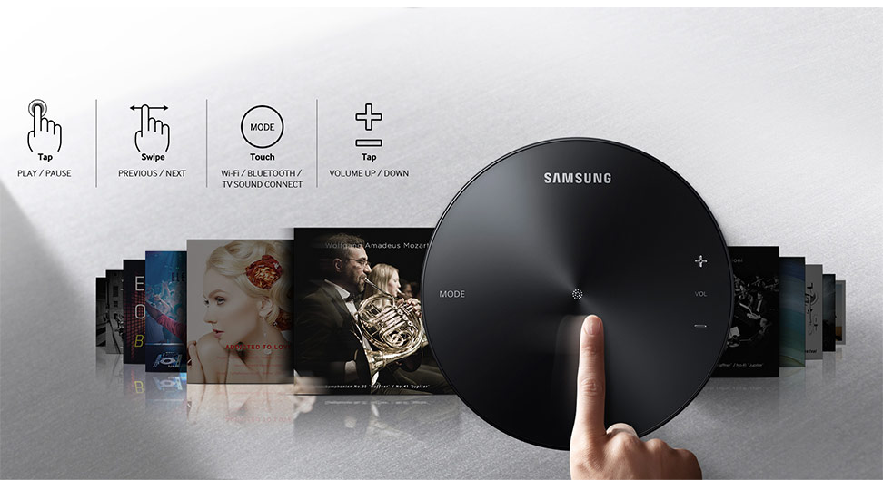 Top of speaker, music titles, play and pause, previous and next, touch mode Wi-Fi, Bluetooth, TB sound connect, plus minus tap volume up down