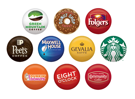 Green Mountain coffee, Donut Shop, Folgers, Peet's Coffee, Maxwell House, Gevalia Kaffe, Starbucks, Dunkin' Donuts, Eight O'Clock, Community Coffee