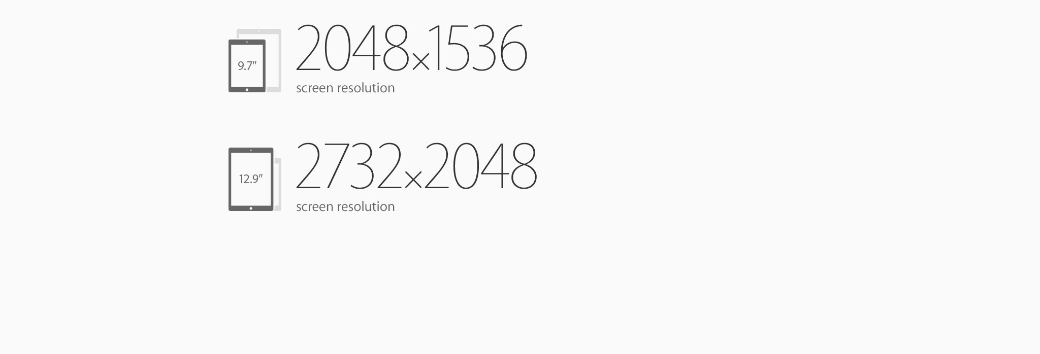 2048x1536 screen resolution. 2732x2048 screen resolution