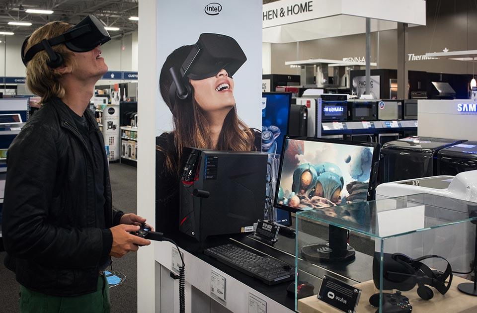 Man wearing virtual reality headset