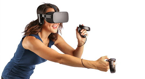 Virtual-reality wireless controllers