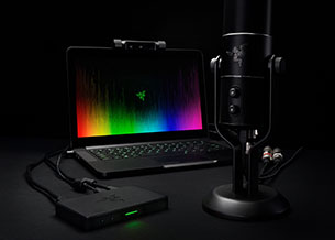 Laptop, game capture device, microphone