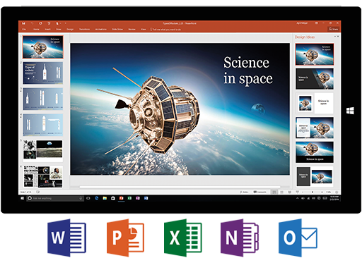 Screen, Word, PowerPoint, Excel, Onenote, Outlook
