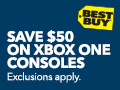 Save 50 dollars on Xbox One consoles. Exclusions apply. Best Buy.