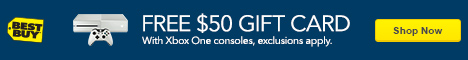 Free 50 dollar gift card with Xbox One consoles. Exclusions apply. Shop now. Best Buy, video game console, controller.