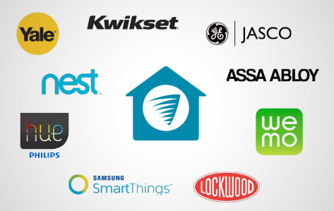 Yale, Kwikset, G E, Jasco, Nest, Philips Hue, Assa Abloy, Samsung Smart Things, WeMo, Lockwood, house