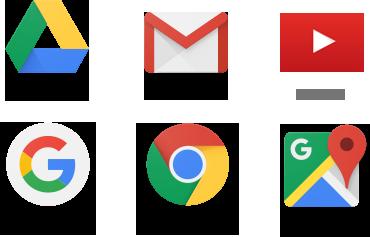 Google Drive, Gmail, YouTube, Google Search, Google Chrome, Google Maps