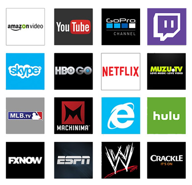 You-tube, Go Pro, Skype, Muzu TV, MLB TV, Machinima, Internet Explorer, Hulu, Fox Now, WWE, Crackle