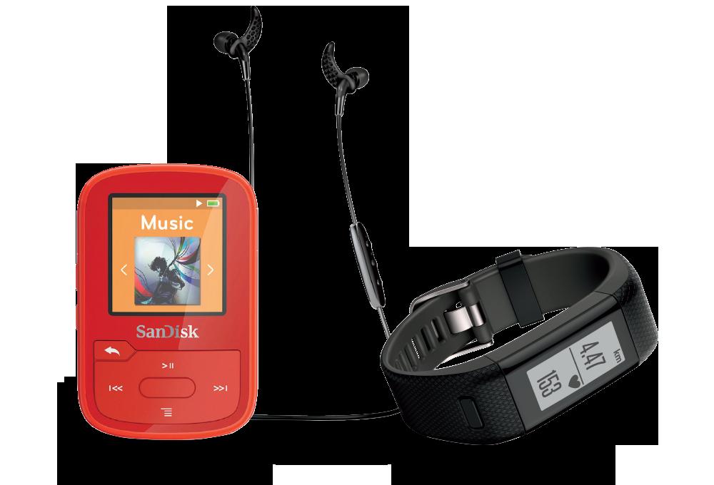 Activity tracker, headphones, M P 3 player