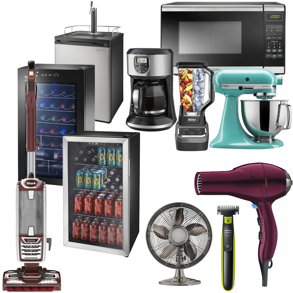 Vacuum, beverage coolers, blender, kegerator, microwave, hair dryer, coffee maker, mixer
