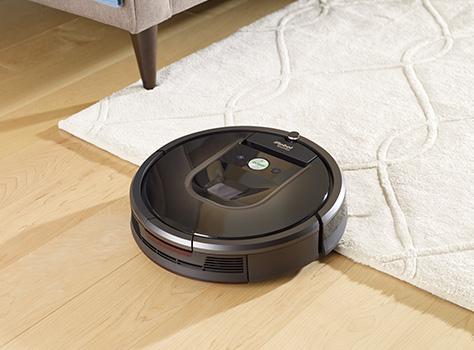 Robot vacuum on rug