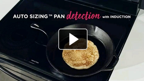Fry pan on with pancake on stove, auto sizing pan detection with induction