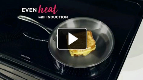 Pan on stove, Even heat with induction