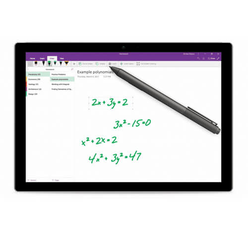 Handwritten math equations on screen