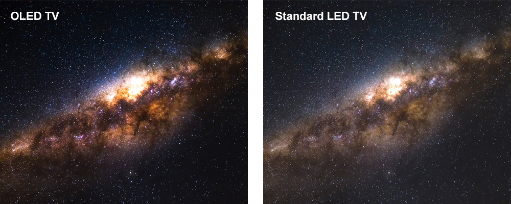 OLED TV night sky with stars, Standard LED TV night sky with stars