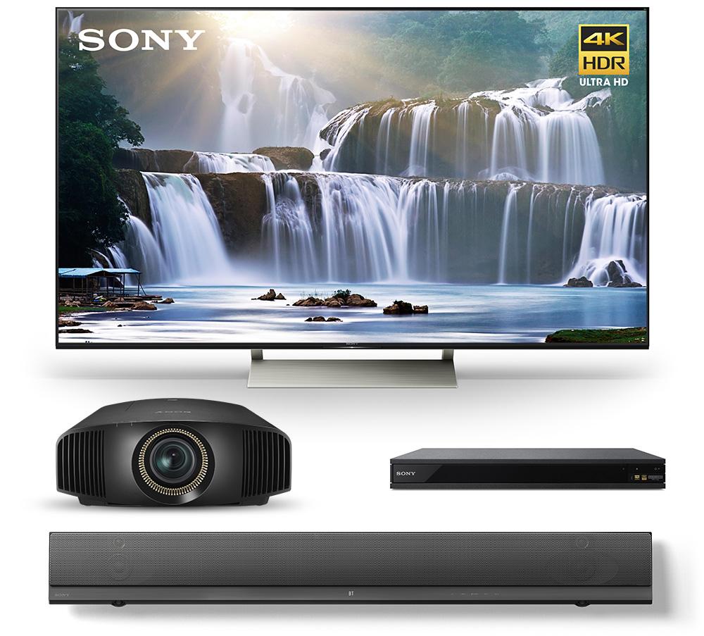 TV, projector, Blu-ray player, sound bar