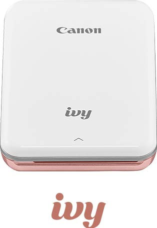 White mini photo printer with rose gold accents