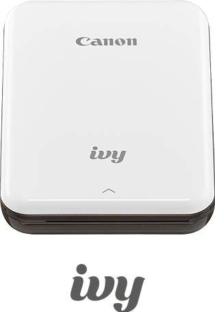 White mini photo printer with slate gray accents