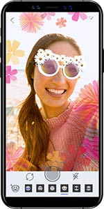 Smartphone showing photo with sunglasses overlay on face
