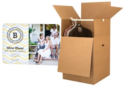 Wardrobe box with clothes, moving announcement