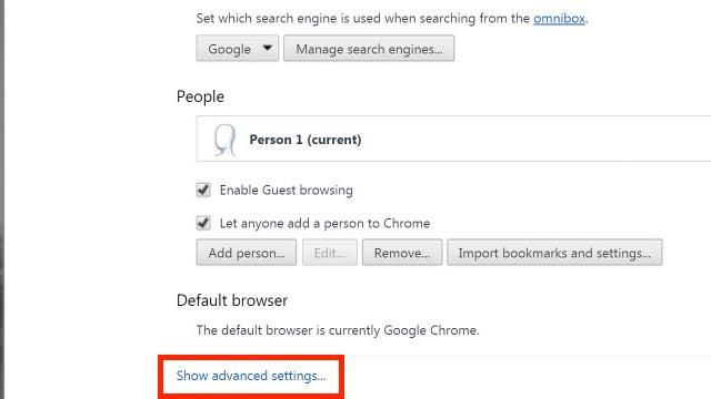 Show advanced settings option on menu page
