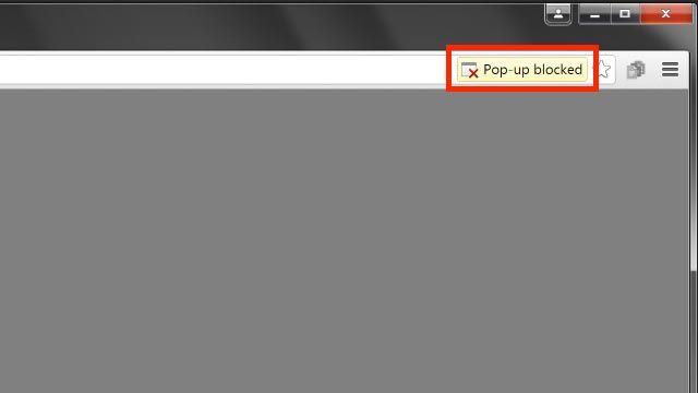 pop-up blocked notification in browser