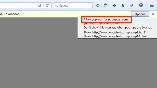 allow pop-ups for popuptest.com option from context menu