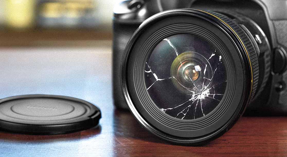 Camera with broken lens