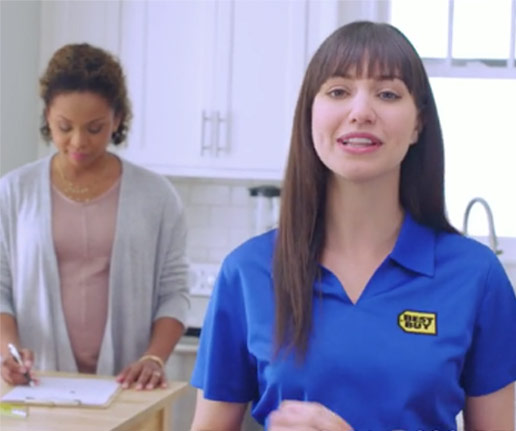 Best Buy employee in kitchen