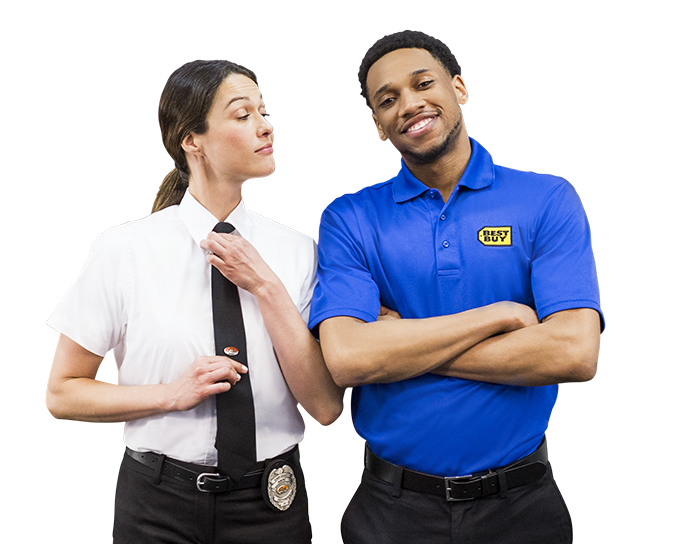Geek Squad Agent and Best Buy Blue Shirt employee